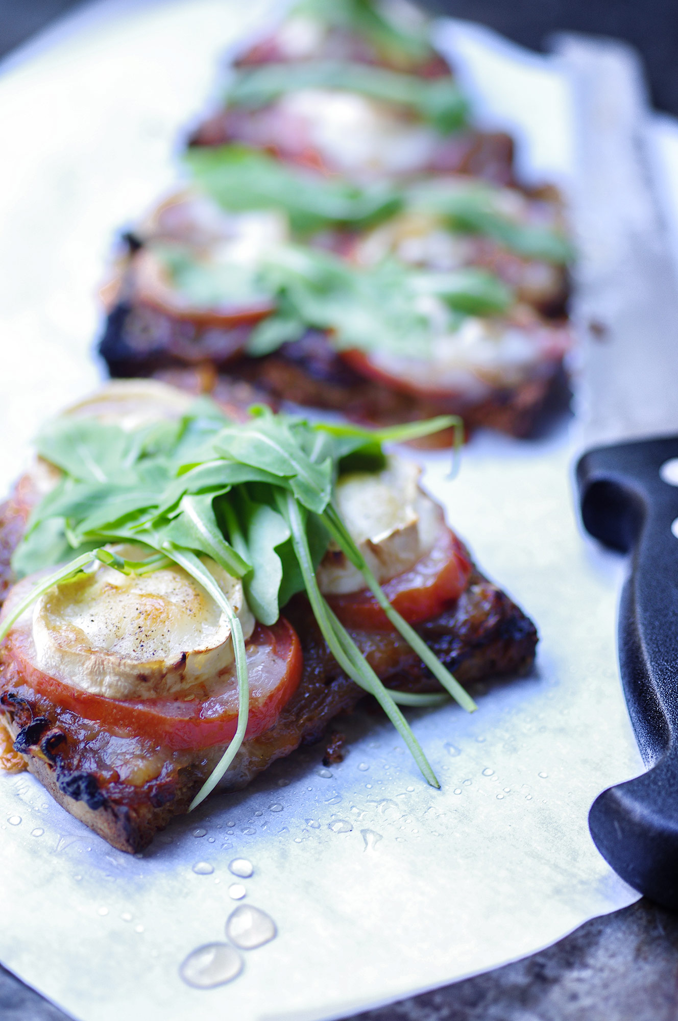 tartines, tartine, goat chees, cheese, fromage, tomato tomtate, kosher, kasher, cacher, roquette, recette , recipe, green, veggie, veg, vegetarian, healthy, easy, quick, blog, blogger, food, fooding, cooking, onion, confit, onion confit, toast