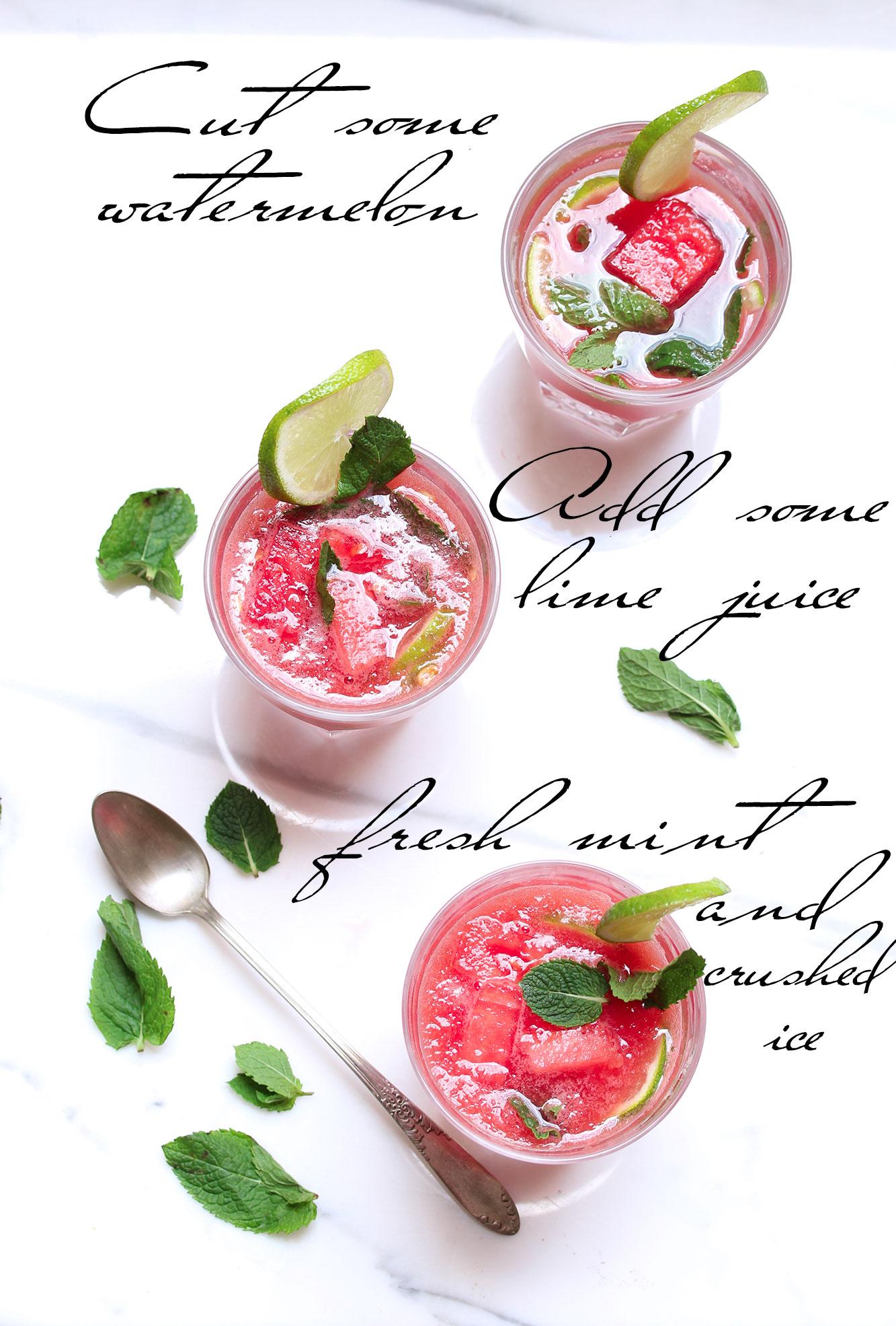 watermelon, cocktail , drink , cooler, healthy, boisson, santé, pasteque, citron vert, granité, rafraichissant, boisson, antyoxydant, melon d'eau, mint, menthe, lime, crushed ice, kosher, recipe, recete, ingredients, yummy, food,
